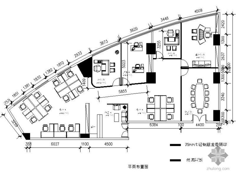 [湖北]某大厦办公室装修平面图