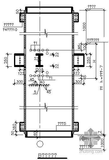 某圆钢骨柱与混凝土梁连接大样节点构造详图(二)