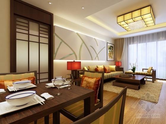 现代中式风格客厅、餐厅3d模型下载