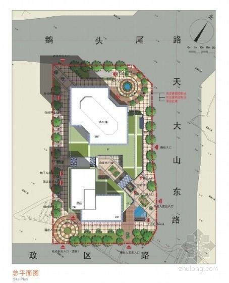 现代风格总部基地规划设计方案总平面图