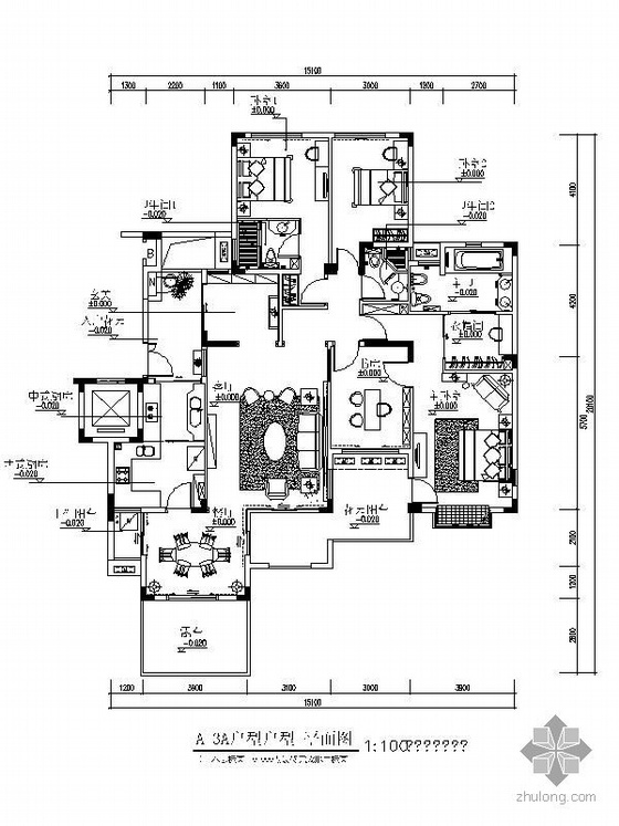 欧式豪华四居样板房A-A3户型内装图