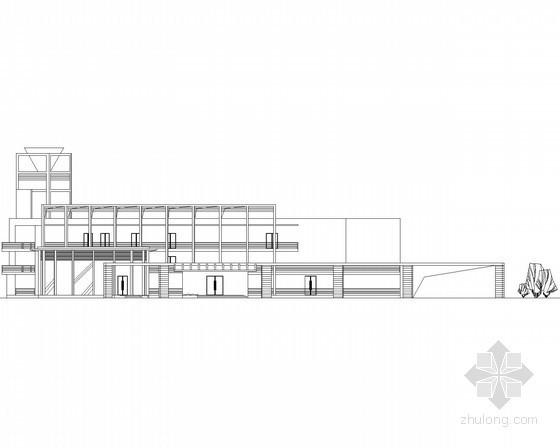 某三层扇形平面现代型会所建筑方案图