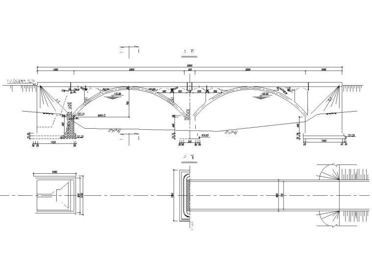 空腹式石拱桥施工图设计12张