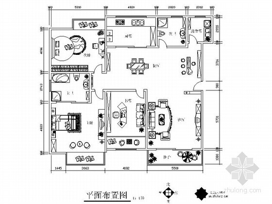 现代四室两厅双卫装修图(含效果)
