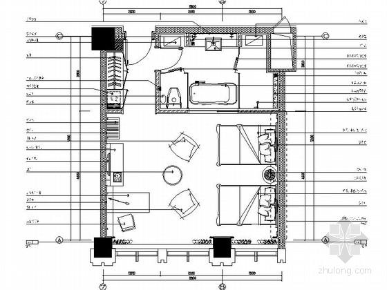 [辽宁]国企办公楼行政层双人床装修施工图