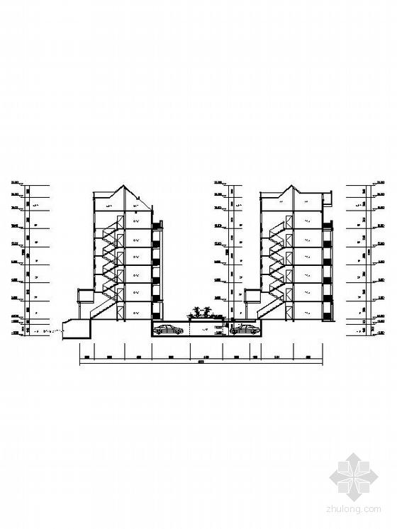 英伦风多层及高层住宅区规划设计剖面图