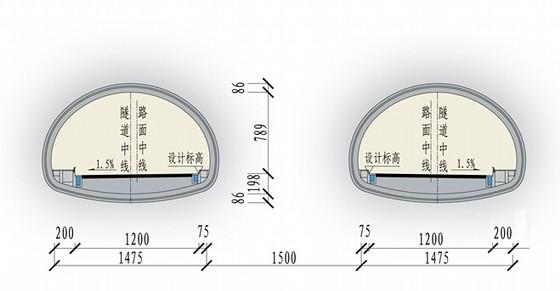 [重庆]城市双洞单向三车道隧道设计图纸全套368张CAD(道路边坡排水照明交通)
