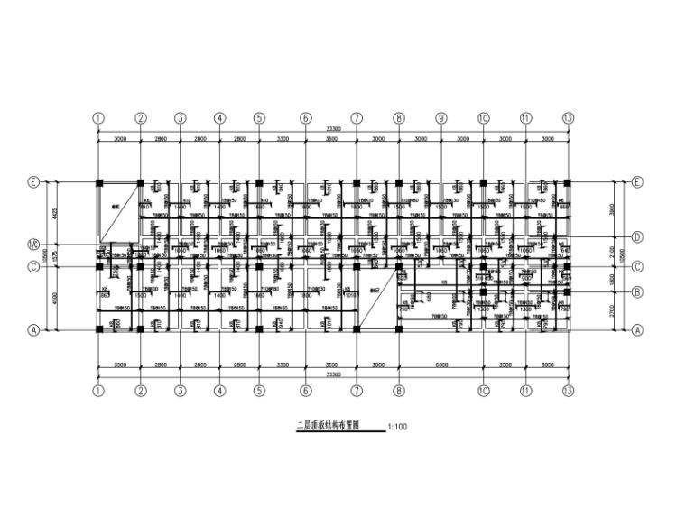 [吉林]4层框架结构综合办公楼建筑结构施工图(CAD、33张)