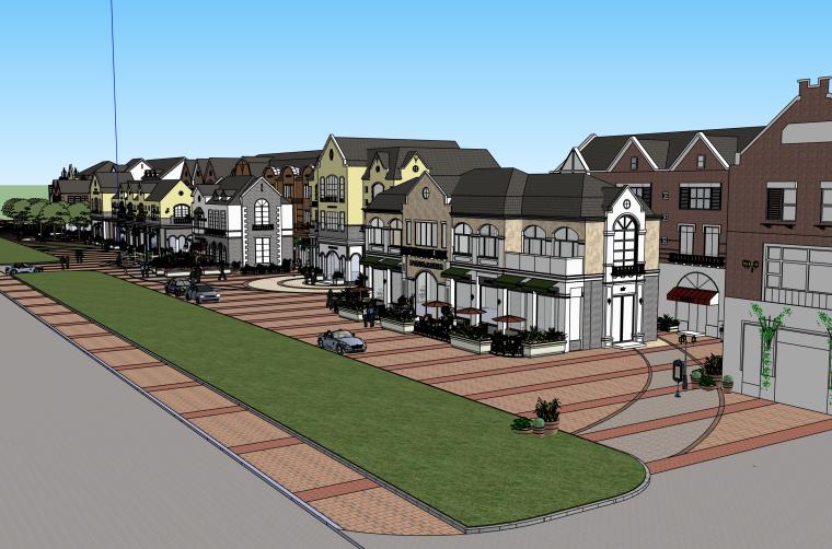 现代欧式商业步行街建筑SU模型