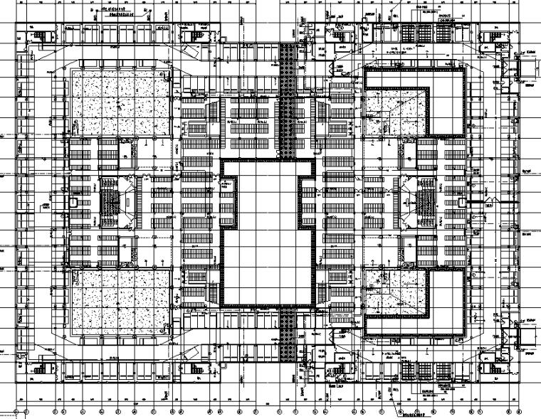 厦门大学翔安校区主楼群(1245#楼)初步设计文件(给排水工程)-1#2#地下一层给排水平面图