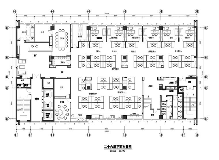 [湖北]民发实业有限公司现代风格办公楼装饰工程施工图+效果图