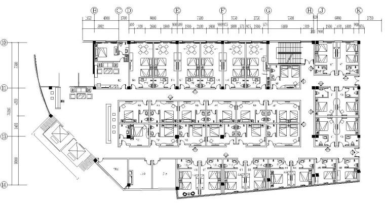 [陕西]咸阳某酒店客房楼层平面布置图