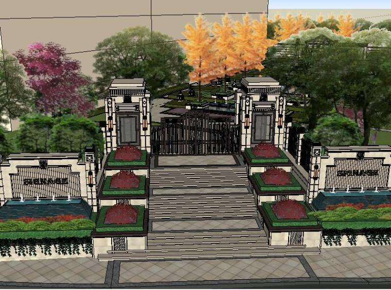 [景观场景模型]新中式居住小区景观模型