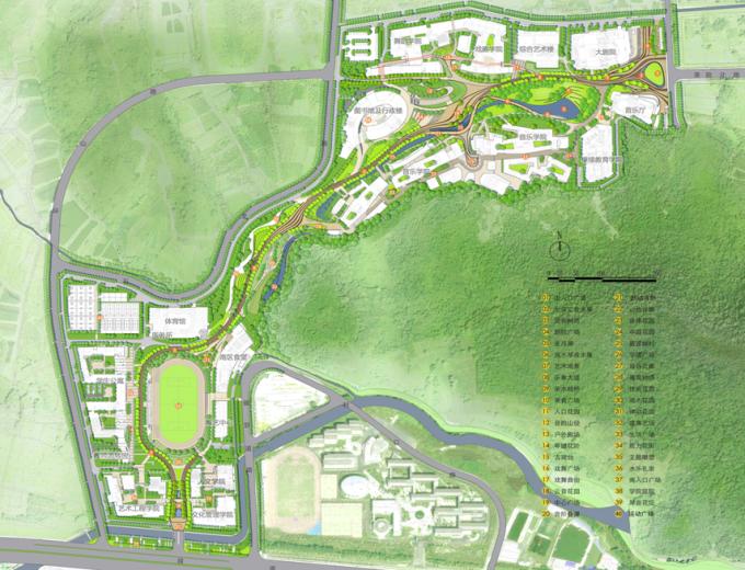 [浙江]流动地景自然生态大学校园景观规划设计全套图纸(方案+CAD施工图+PDF施工图+实景图)-方案总平面图