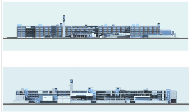 [浙江]杭州某市场中学建筑设计方案文本(效果图+SU+CAD)-立面图