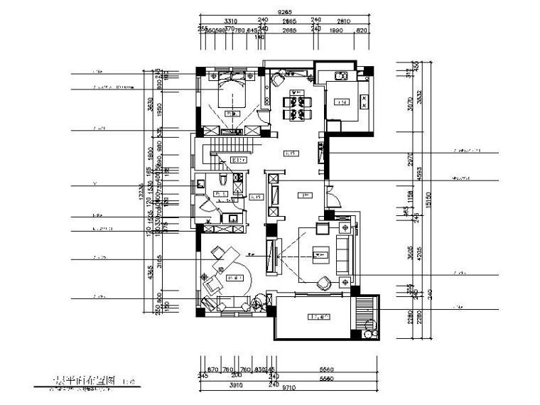 美式风格样板房设计CAD施工图(含效果图)