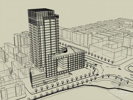 现代高层写字楼建筑效果图SketchUp模型