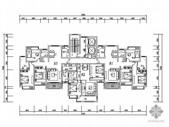 塔式高层一梯三北梯户型图(124/88)