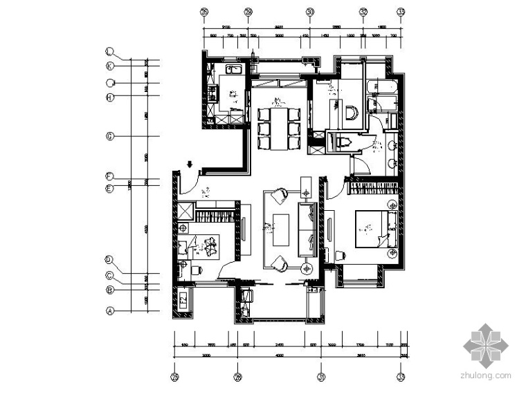 [万科]某小区05公寓115户型三居室内设计图