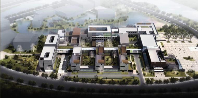 [浙江]多层庭院布局绿色商务办公楼建筑设计方案文本