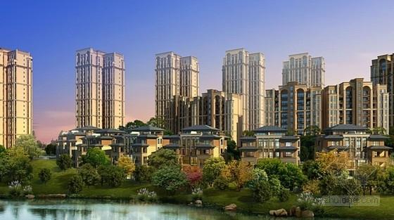 [成都]现代风格高层住宅及联排别墅区规划设计方案文本-现代风格高层住宅及联排别墅区规划效果图