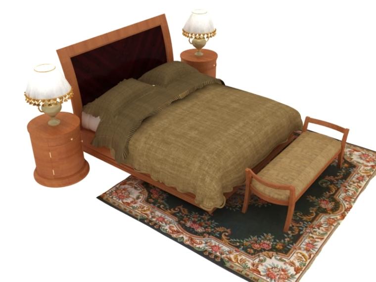实木欧式床3D模型下载