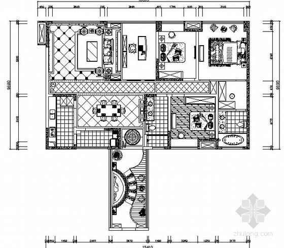 [重庆]欧式自然清新三居室室内装修施工图