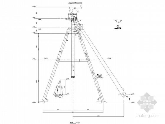 双斜撑式多绳提升钢井架空间框架结构施工图