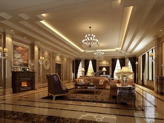 欧式豪华别墅客厅装修3D模型