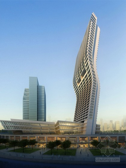 中东100米高层酒店建筑效果图3D模型
