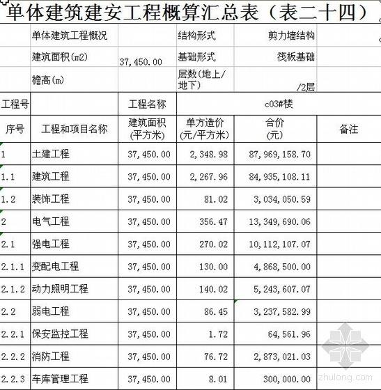 北京某住宅楼投资估算实例(2010)