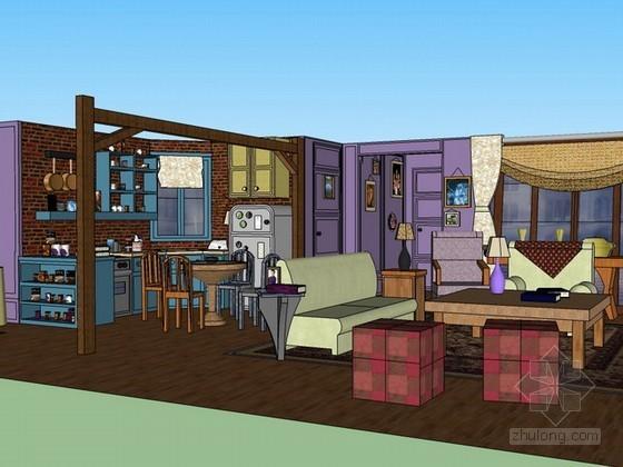 客厅餐厅整体空间sketchup模型下载