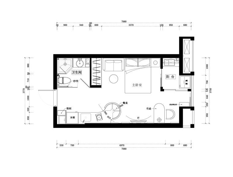 [北京]凯隆地产两套现代风格一居室样板房室内设计施工图