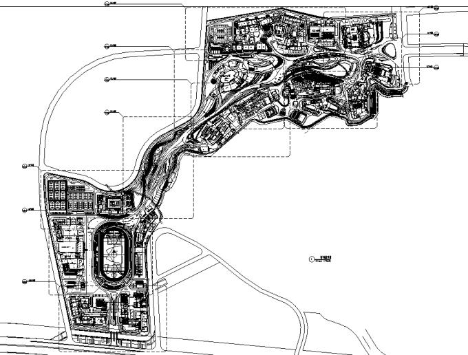 [浙江]流动地景自然生态大学校园景观规划设计全套图纸(方案+CAD施工图+PDF施工图+实景图)-总平面图