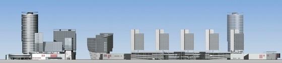[广东]长廊并排式商业中心建筑设计方案文本-长廊并排式商业中心建筑设计立面图