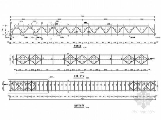 净跨71米人行天桥钢桁架梁设计图(13张 节点详细)
