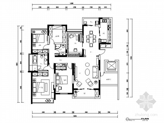 [江苏]简约现代风格四居室室内装修施工图