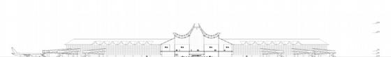 """[湖南]""""X""""型模块化钢结构机场建筑设计方案文本(含CAD及多媒体)-""""X""""型模块化钢结构机场建筑剖面图"""