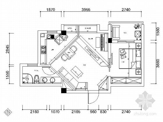 [武汉]后现代低调奢华一居室CAD装修施工图(含高清实景图)