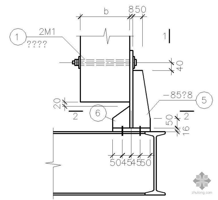 某曲轨梁与钢筋混凝土梁连接节点构造详图(二)