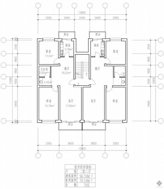 板式多层一梯两户二室二厅一卫户型图(97/97)
