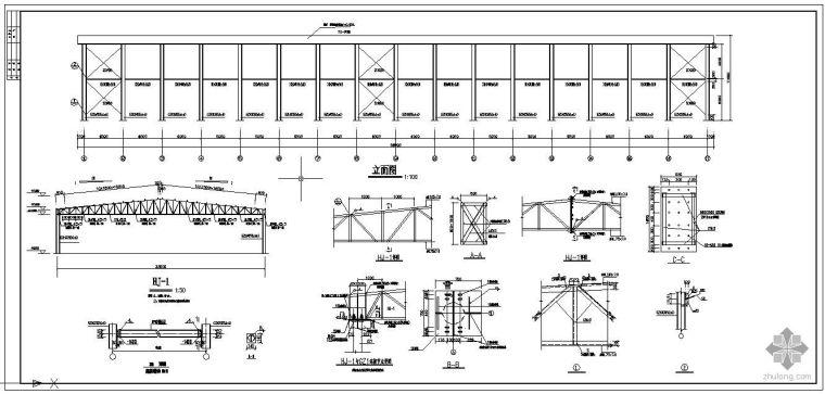 某32m跨桁架钢构厂棚方案图_3