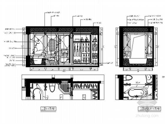 城市中心欧式风格六居室样板房装修图(含效果)主卫立面图