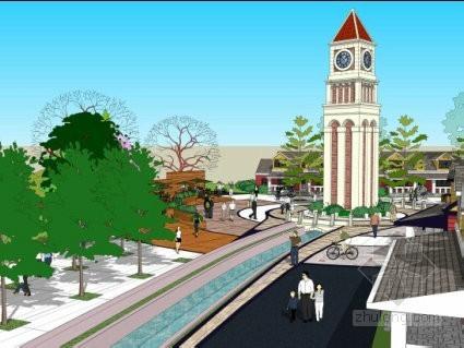 奥特莱斯商业街景观方案效果图