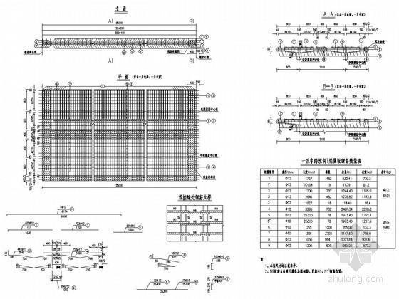 [浙江]预应力混凝土连续梁桥T梁施工图设计23张(桥宽10m)