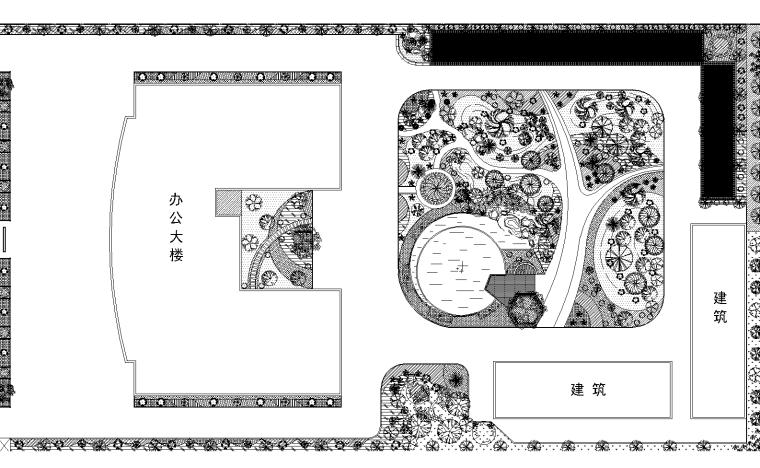 2套行政办公楼庭院景观设计CAD平面图
