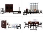 4款新中式沙发椅子书桌组合