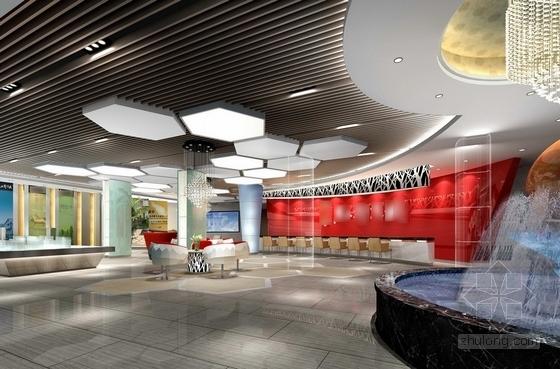 [瑞金]新亚洲别墅群高档售楼处室内装修施工图(含效果)大厅效果图