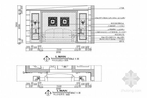 双卧朝阳南北通透欧式风格两居室装修图(含效果图) 客厅立面图