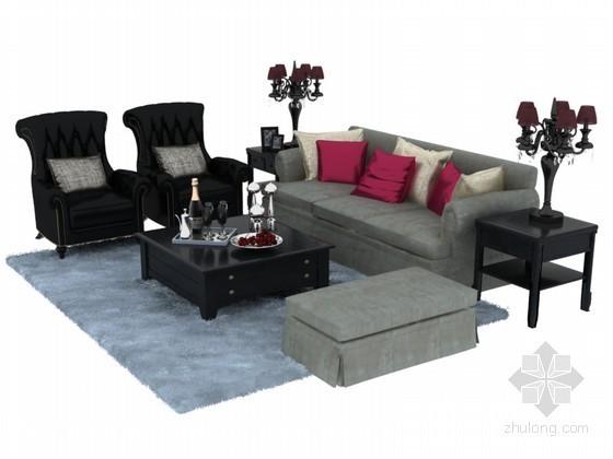 欧式沙发茶几组合3D模型下载